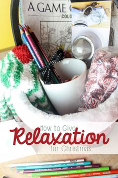 How To Give the Gift of Relaxation for Christmas - Mama Plus One Feeling stressed? Have a friend who needs to relax? Give the gift of relaxation this Christmas– t Diy Christmas Gifts, Holiday Gifts, Cheer Up Gifts, Christmas Hamper, Handmade Christmas, Christmas Ideas, Raffle Baskets, Gift Baskets, Coloring Book