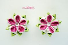 Hot Pink and Cream White Tsumami Kanzashi от wonderfulkanzashi