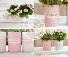 Upcycling-Deko mit Dosen: Blumentopf selber machen Make pretty flower pots out of ordinary metal cans. Tin Can Crafts, Diy Crafts To Do, Diy Garden Projects, Diy Garden Decor, Flower Pot Crafts, Flower Pots, Diy Flowers, Paper Flowers, Fleurs Diy