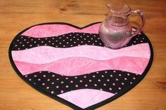 Heart Shaped Quilted Table Runner Candle Mat by BlissfulFiber, $14.00
