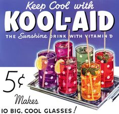 Kool-Aid - invented by Edwin Perkins in Hastings, Nebraska. Its predecessor was a liquid concentrate called Fruit Smack. To reduce shipping costs, in 1927, Perkins discovered a way to remove the liquid from Fruit Smack, leaving only a powder. Hastings celebrates a yearly summer festival called Kool-Aid Days on the 2nd weekend of August. Kool-Aid started out at 10¢ a pack, but during the Great Depression, the price was cut in half.