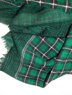 Wool checkered vintage scarf green black and white by CHEZELVIRE, $12.00