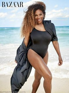 Serena Williams has candidly discussed battle with post-natal depression. Black swimsuit, cover-up, walking the beach, sand, ocean 2018 Black Girl Magic, Black Girls, Beautiful Black Women, Beautiful People, Beautiful Oops, Hot Black Women, Sexy Women, Venus And Serena Williams, Serena Williams Swimsuit