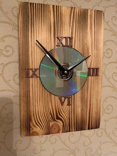Cd Art, Diy Clock, Wood Clocks, Woodworking Projects, Projects To Try, Home Decor, Handmade Wall Clocks, Craftsman Clocks, Wood Plane