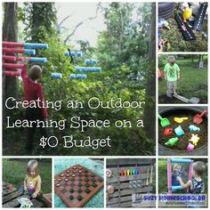 Creating an Outdoor Learning Space for Free or Frugal Outdoor play areas Outdoor Education, Outdoor Learning Spaces, Kids Outdoor Play, Outdoor Play Areas, Backyard Play, Outdoor Playground, Outdoor Fun, Playground Ideas, Backyard Ideas