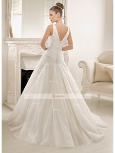 A-Line Sweetheart Buttons Floor length Organza Lace,Beading Wedding Dresses