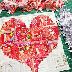 scrappy Pillow heart foundation paper piecing template pattern include video tutorial