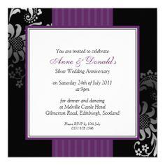 Black and Purple Damask Anniversary Party Custom Invites