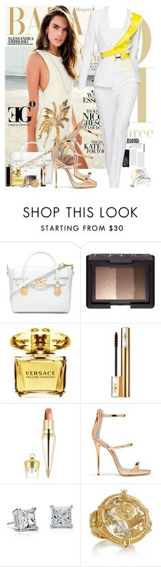 """""""Sunset Diamond"""" by eleonoragocevska ❤ liked on Polyvore featuring Versace, NARS Cosmetics, Yves Saint Laurent, Christian Louboutin, Chanel, Sergio Rossi, Blue Nile, women's clothing, women and female"""