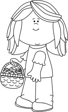 Black And White Girl Holding An Easter Basket