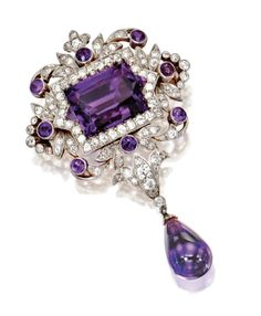 Brooch in platinum with amethysts and diamonds, Tiffany , 1900