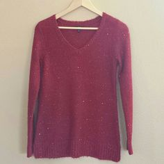 Red sequined holiday sweater You will certainly sparkle in this sweet sweater. Good condition. Acrylic /polyester blend. Apt. 9 Sweaters V-Necks
