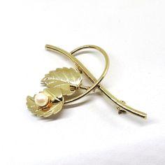 Pearl Brooch - 12K GF, Vintage, Catamore Signed, Leaf, Imitation Pearl Pin by MyDellaWear on Etsy $26