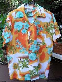 Vintage Hawaiian Shirt Hukilau Fashions 1970s Poly WOW!  $34.99