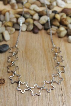 Starlight necklace, 11 stars, stainless steel star necklace