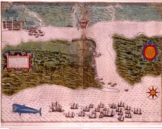 Sir Francis Drake's attack on St Augustine, Florida 1586 map
