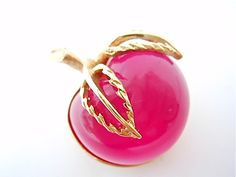 Vintage Sarah Coventry Signed Pink Apple Brooch Pin Jelly Belly - EA166. $15.00, via Etsy.