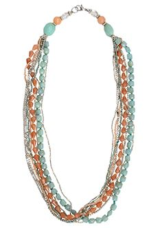 Trades of Hope - This beauty is the perfect spring accessory with eight strands of fresh color—blush pink, sea blue, and hints of silver.  Large beads near the clasp anchor the piece that measures 23 inches.