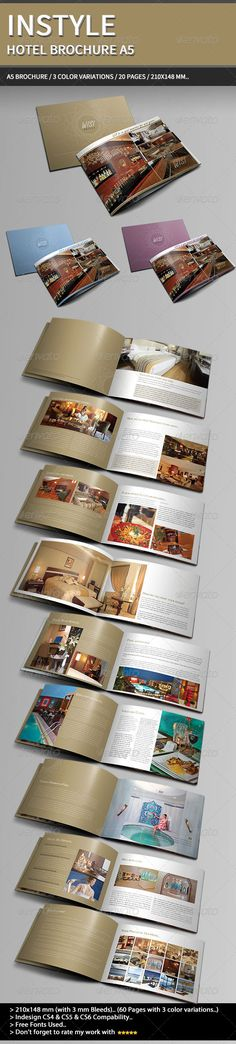 InStyle Hotel Brochure A5..  #GraphicRiver        DescriptionStyle, Elegant, Clean and Cool hotel informat