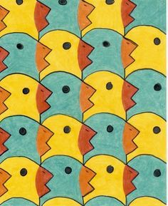 tesselation   This student's tessellation basic shape is a square that has been ...