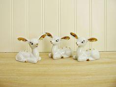 Vintage White Deer Figurines With Gold Trim Big Eyed Deer Set of 3 Doe Figurine 1950's Deer Mid Century Deer Set of Deer Family Kitschy Deer by HipCatRetroVintage on Etsy