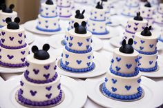 These Mickey Mouse inspired mini wedding cakes are the cutest sweet treats we've ever seen