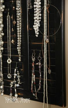DIY Jewelry Organizer {from an Old Shutter Cabinet Door}