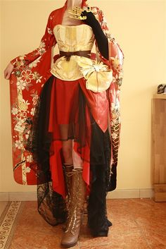 "A mesh of Japonaise and steampunk: steamponaise? It came with the caption ""Je steampone, tu steampones, nous … Costume Steampunk, Steampunk Clothing, Steampunk Fashion, Gothic Fashion, Gothic Clothing, Asian Steampunk, Victorian Steampunk, Cool Outfits, Fashion Outfits"