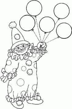 Dibujo para colorear de payaso sosteniendo globos.