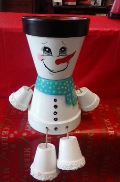 "6"" snowman Pot People by crazycraftingfriends on Etsy"