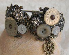 Steampunk Bracelet Vintage Altered Watch Face Bracelet Filigree Bracelet Vintage Ornate Charm Bracelet Cuff Bracelet
