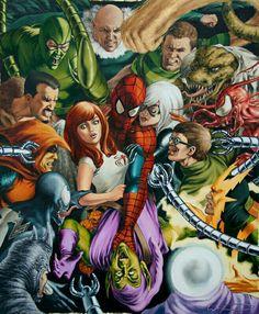 #Spiderman #Fan #Art. (Spiderman vs Villains painting) By: JohnWatson. (THE * 5 * STÅR * ÅWARD * OF: * AW YEAH, IT'S MAJOR ÅWESOMENESS!!!™) ÅÅÅ+