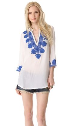 rory beca embroidered caftan tunic top in white & blue