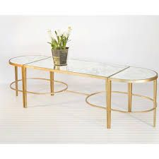 Worlds Away Molecule Gold Leaf Round Coffee Table 30 Glass