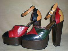 fe15b534dce 70 s Shoes · 70s sky high platforms 70s Women Fashion