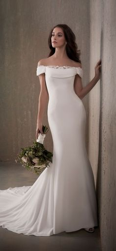 Adrianna Papell | Simple Crepe Wedding Dress with Lace Draped Neckline - 31028 #weddingdress