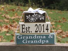 "Gift for new Grandma and Grandpa. Wood Stacking Gift Blocks. ""Est. 2014 Grandma & Grandpa"" - Christmas gift. Grandparents Day on Etsy, $25.50"