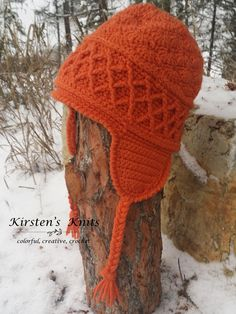 Ravelry: Snow Country Ski Hat pattern by Kirsten Holloway Crochet Onesie, Crochet Adult Hat, Crochet Hood, Crochet Geek, Crochet Cap, Crochet Beanie, Free Crochet, Knitted Hats, Knitting Patterns