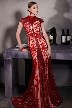 Charming Sheath High-Neck Cap Sleeves Lace Evening Dress 5