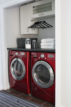 Love this laundry room! Love this laundry room! Love this laundry room! Love this laundry room! Red Laundry Rooms, Laundry Room Remodel, Laundry Closet, Laundry Room Organization, Laundry Room Design, Laundry Nook, Smelly Laundry, Laundry Drying, Diy Organization