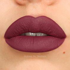 Swatch of @ofracosmetics liquid lipstick in #manhattan . Isn't she purrdyyy