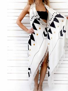 5ed7db430c9 0438.0100 HIGH TIDE pareo dress Black Aztec patterns with a touch of gold  color rhythmically decorate