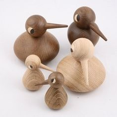 Birds by Dannish architect Kristian Vedel for the Dannish company Architect Made. Great simple shapes and beautiful oak wood (natural and smoked) turned by hand by small wood turner. By turning their bodies and heads you can give them many different expressions.