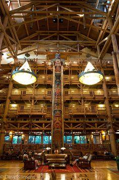 Lobby at Disney's Wilderness Lodge resort.