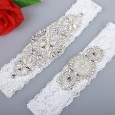 Luxury Clear Rhinestones Wedding Garter Set  The price is for 1 Set garter…