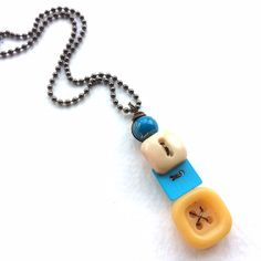 Blue and Yellow Squares Vintage Button Pendant Necklace