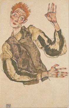 File:Egon Schiele - Self-Portrait with Striped Armlets - Google Art Project.jpg