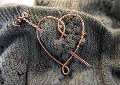 Broche Coeur en Fil de Cuivre Wire Wrapping avec Perle Grenat : Broche par 1-fil-2-perles