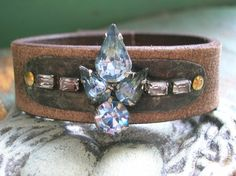 Bohemian leather bracelet - Gypsy Jewels - Boho chic jewelry, vintage rhinestones, cuff, sapphire blue, artisan jewelry by 3 Divas Studio