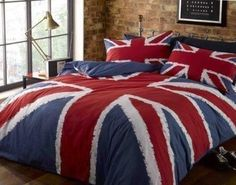 Add some character to your room and make a statement with this Rapport Union Jack print Duvet Cover set. The duvet cover features a big bold Union Jack flag design while the reverse features a block colour in navy. The theme is carried through to the King Size Duvet Covers, Double Duvet Covers, Single Duvet Cover, Comforter Cover, Duvet Bedding, Bed Covers, Blue Duvet, White Duvet, Blue Bedding